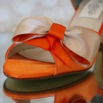 Orange Wedding Shoes with Orange Crystal Heel and Orange and Champagne Bow Custom Design
