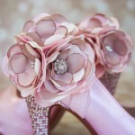Paradise Pink Wedding Shoes High Heel Peeptoe Silver Pink Crystal Heel Pink and Ivory Flower Ankle Custom Design
