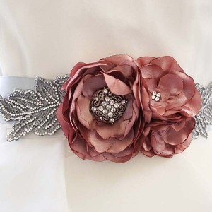 Pink Wedding Sash Custom Design Silver Crystal Bling Leaves Pink Flowers Handmade