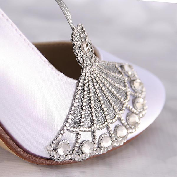 White Wedding Shoes Silver Crystal Embellishment Vintage Wedding Custom Design