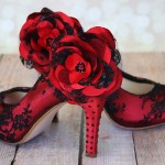 Rockabilly Custom Wedding Shoes Red Satin Black Lace Red and Black Crystal Heel and Red and Black Lace Flower Ankle 4