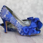 Royal Blue Peep Toe Custom Wedding Shoes Silver Lace Overlay Bow on Toe Buttons Design Your Pedestal