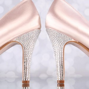 Blush Wedding Shoes Silver Crystal Cluster Platform Peeptoes Silver Crystal Heel Design Your Own Wedding Shoes