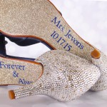 Navy Blue Wedding Shoes Silver Gold Crystal Heels Leaf Applique Toe Glitter Sole Save the Date
