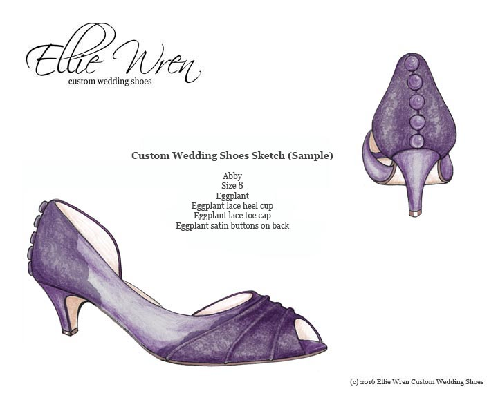 Custom Wedding Shoe Sketch Design Your Own Wedding Shoes