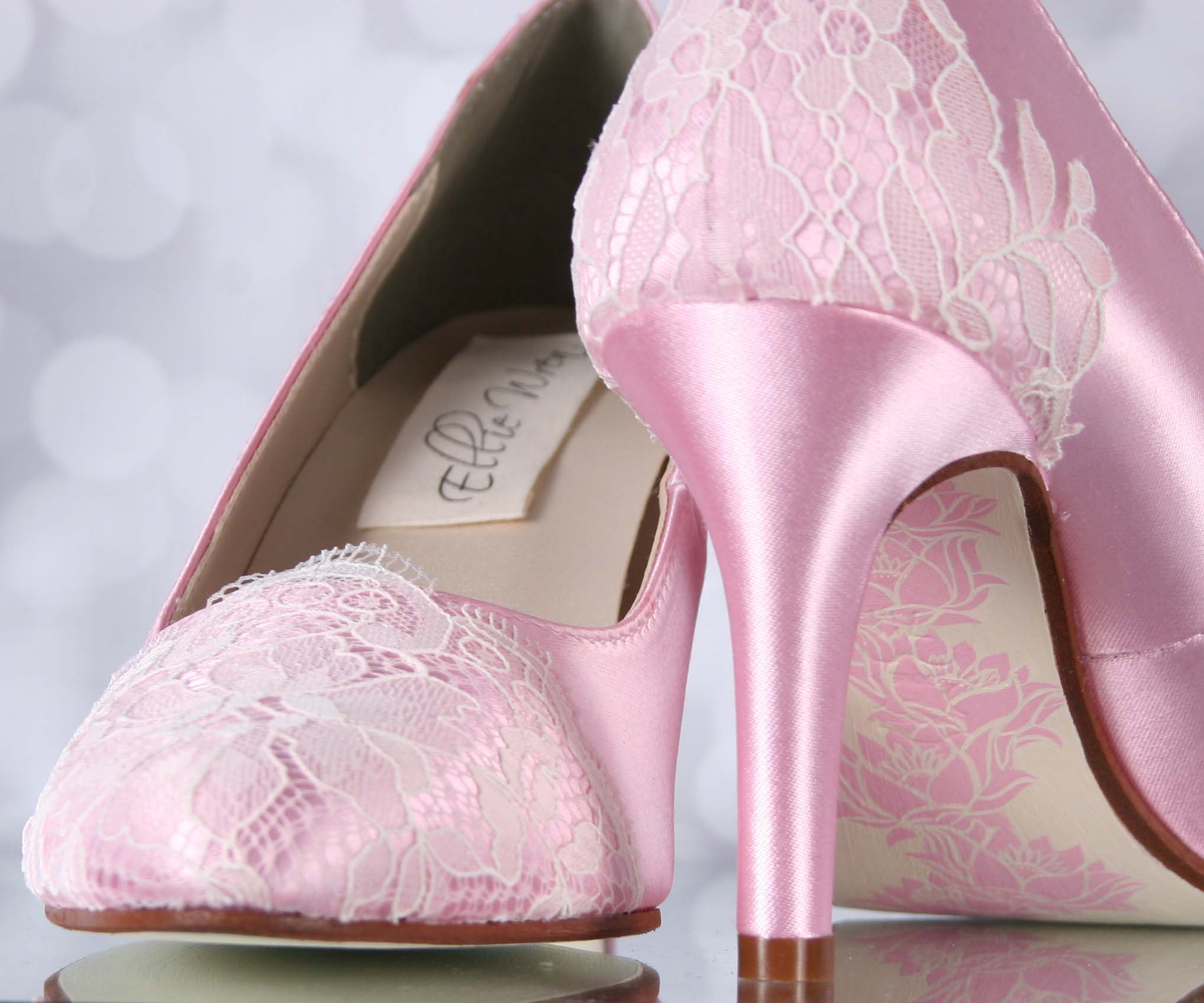Pink Wedding Shoes Pink Closed Toe Bridal Heels With Ivory Lace