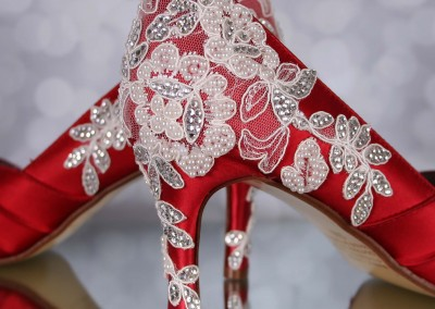 Red Wedding Shoes Melissa Ivory Lace Heel with Ivory Pearls and Silver Crystals Custom Wedding Shoes 3