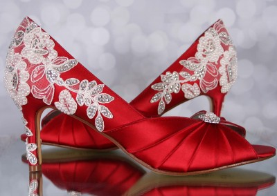 Red Wedding Shoes Melissa Ivory Lace Heel with Ivory Pearls and Silver Crystals Custom Wedding Shoes 4