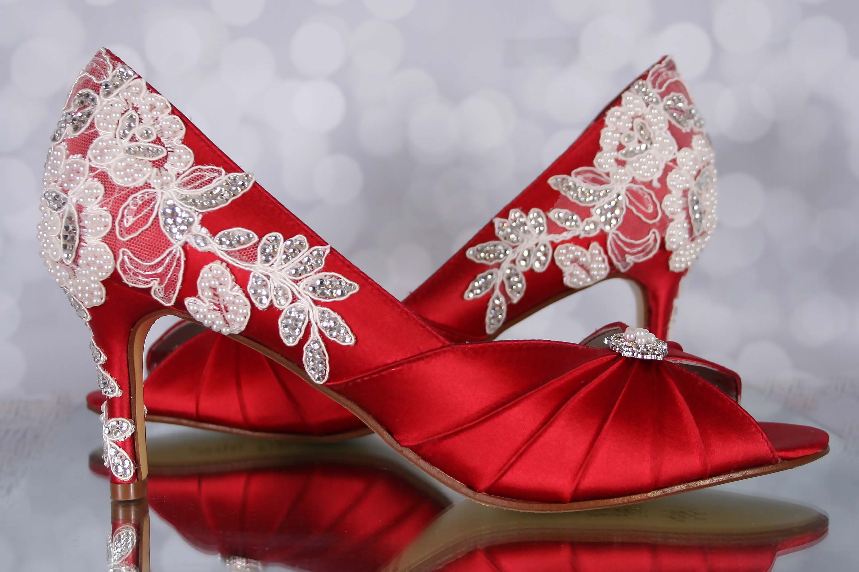 fdfc705ad27 Red Wedding Shoes: Red Peep Toe Bridal Heels with an Ivory Lace Heel ...