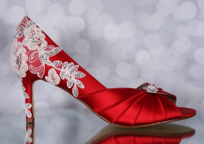 Red Wedding Shoes Melissa Ivory Lace Heel with Ivory Pearls and Silver Crystals Custom Wedding Shoes 5