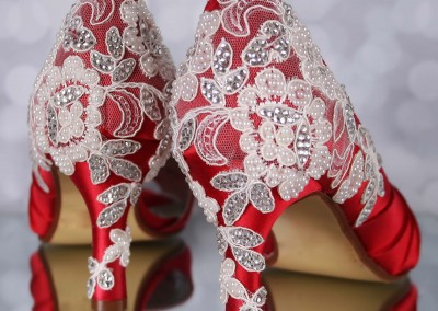 Red Wedding Shoes Melissa Ivory Lace Heel with Ivory Pearls and Silver Crystals Custom Wedding Shoes 6