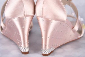 Blush Wedding Shoes Wedges Jenna Starburst Crystal Wedge Heel Flowers Scattered on Toe Design Your Own Wedding Shoes 1
