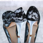 Light Blue Wedding Shoes Black Lace Overlay Platform Peep Toe Doris Custom Wedding Shoes 1