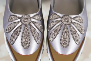 Silver Wedding Shoes Abbey Custom Silver Crystal Applique on Toe and Heel Custom Wedding Shoes 1