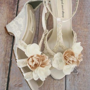 Ivory Wedding Shoes Lace Wedge Wedding Shoes Pearl Buttons Five Flowers Ivory and Champagne Custom Wedding Shoes