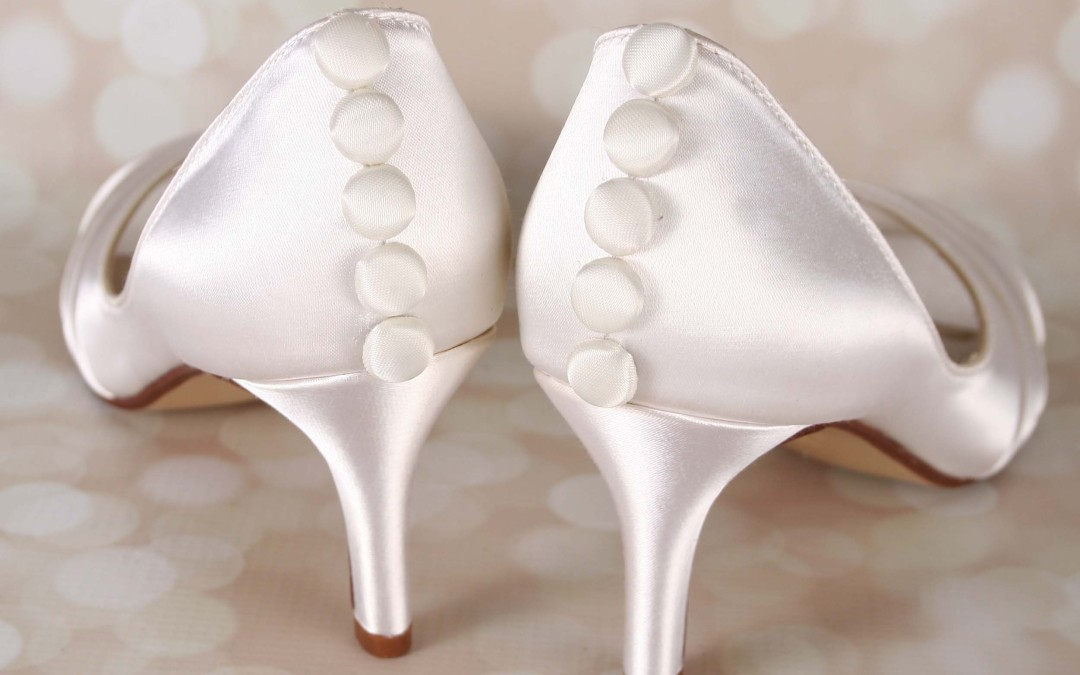 Just a Touch of Romance — Ivory Satin Wedding Shoes With Satin Buttons