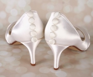 Ivory Wedding Shoes Nadia Peep Toes Peep Toe Ivory Satin Buttons Ivory Bridal Heels 1