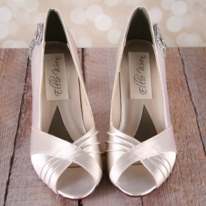 Ivory Wedding Shoes Nona Crystal Wrap Heel Crystal Wrapped Heel Save The Date Peep Toe Custom Wedding Shoes 5