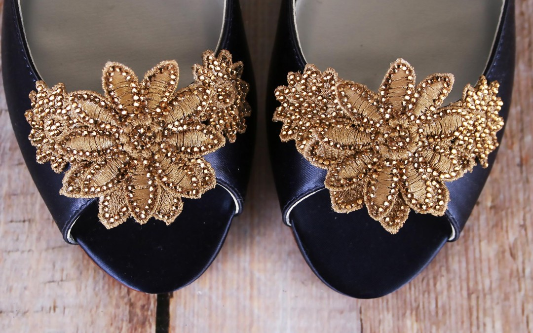 Something Blue With A Twist – Navy Blue Wedding Shoes With Gold Crystal Applique