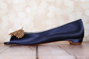 Navy Blue Kara Gold Flower Lace Applique Toe Gold Stones Peep Toe Flat 5