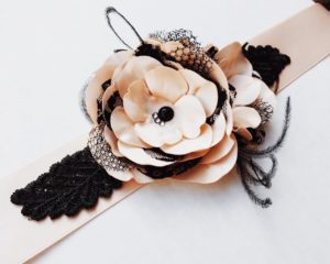 Blush and Black Flower Bridal Sash Wedding Sash Feathers and Lace Accents