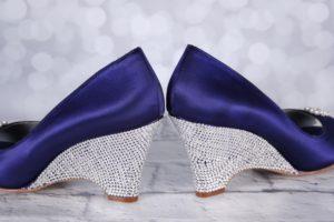 Purple Wedding Shoes Minka Wedges With Silver Crystal Covered Heel Custom Wedding Shoes